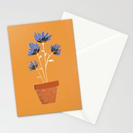 blue flowers on orange background Stationery Cards