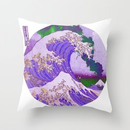 Great Wave Off Kanagawa Mount Fuji Eruption with Starry Smoke Cloud  Throw Pillow