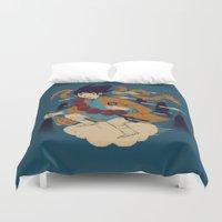 dragonball Duvet Covers featuring woodblockkakarot by Louis Roskosch