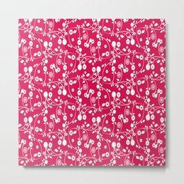 Ruby Red Floral Pattern Metal Print