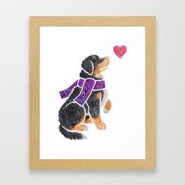 Watercolour Bernese Mountain Dog Framed Art Print