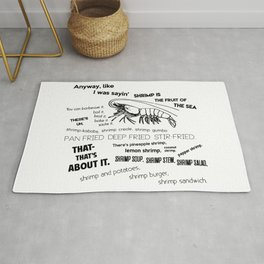 Forrest Gump Bubba Quote on Shrimps Rug