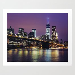 Manhattan Skyline over the Brooklyn Bridge at Night Art Print