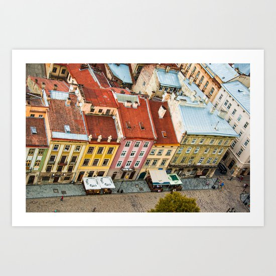 the rooftops of the city Art Print