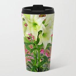 BUTTERFLIES PURPLE & WHITE LILIES AVOCADO FLORAL Travel Mug