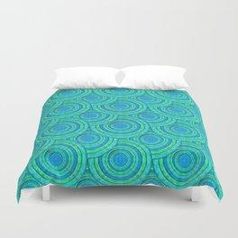 Teal Parasols Pattern Duvet Cover