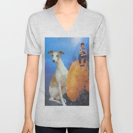 Boy and Dog Unisex V-Neck