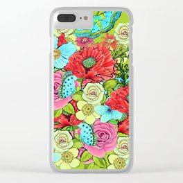 Chartreuse Floral for 2017 Clear iPhone Case