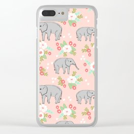 Elephants pattern blush pink pastel with florals cute nursery baby animals lucky gifts Clear iPhone Case