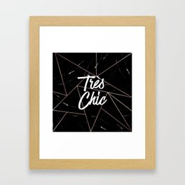 Tres Chic Black Geometric Marble Gold Triangles Framed Art Print