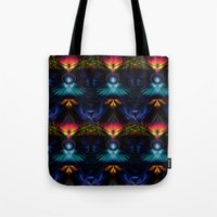 stargate Tote Bags featuring Stargate Fractal Abstract by BohemianBound