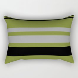 Green Gray and Black Stripes Rectangular Pillow