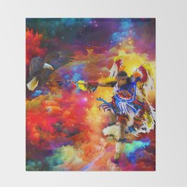 Dance with eagle Throw Blanket