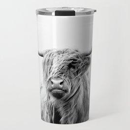 portrait of a highland cattle Travel Mug