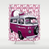 hippy Shower Curtains featuring Hippy cat by Graziano Ventroni