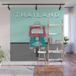 Vintage Vector Thailand Tuk Tuk Travel Poster Wall Mural