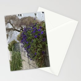 Purple Petunias on the Wall Stationery Cards