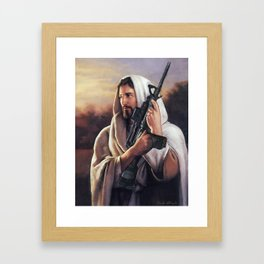 Assault Rifle Jesus Christ Messiah - Who WOuld Jesus Shoot Framed Art Print