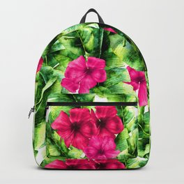 green banana palm leaves and pink flowers Backpack