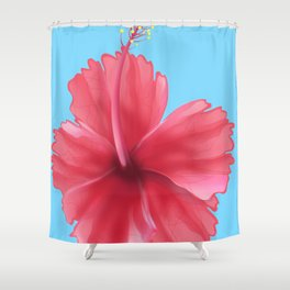 Puerto Rican Hibiscus flower print Shower Curtain