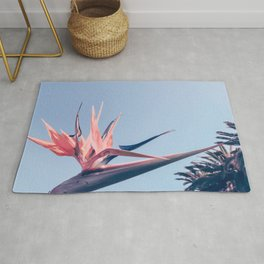 Birds of Paradise Print {3 of 3} | Palm Trees Ocean Summer Beach Cool Blue Photography Art Rug