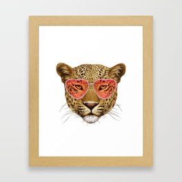 Leopard in Love! Portrait of Leopard with sunglasses. Framed Art Print