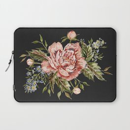 Pink Wild Rose Bouquet on Charcoal Laptop Sleeve