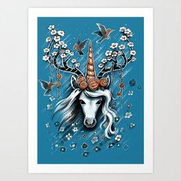 Deer Unicorn Flowers Art Print