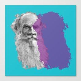 Leo Tolstoy portrait blue and purple Canvas Print