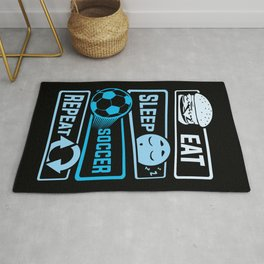 Eat Sleep Soccer Repeat Rug