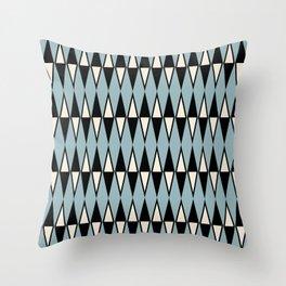 Mid Century Modern Diamond Pattern Black and Blue 233 Throw Pillow