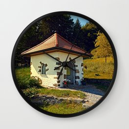 Small chapel up on the mountain Wall Clock