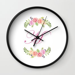 Floral Initial Letter M Wall Clock