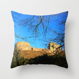 Castle Ruins on a Sunny Winters Day Throw Pillow