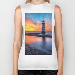 Lighthouse Sunset  Biker Tank