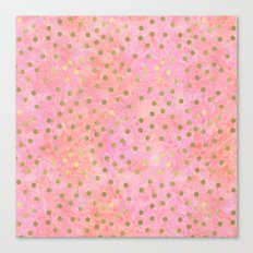 Chic Gold Dots Pink Watercolor Canvas Print