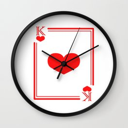 "Valentine's Heart Gambling Shirt For Gamblers ""King"" T-shirt Design Casino Cards Chips Gamble Wall Clock"