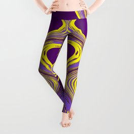 Purple and Yellow Fluid Painting Leggings