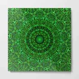 Green Spiritual Mandala Garden Metal Print