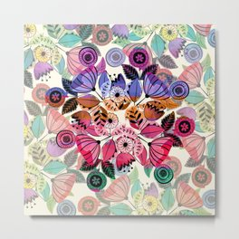 Pink and indigo flower pattern Metal Print