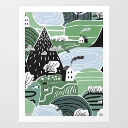 Mountain Valley Village Cute Scandinavian Homes Green Hills Seamless Pattern Art Print