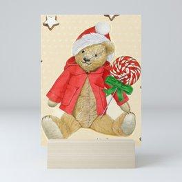 Yellow_Hearts_Xmas_Bear–1 Mini Art Print