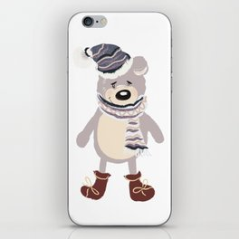 Christmas cute bear. Winter design illustration iPhone Skin