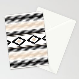 Modern Mexican Serape in Tan Stationery Cards