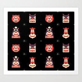 Kitty Kat Head Patterns with Dingbats Art Print