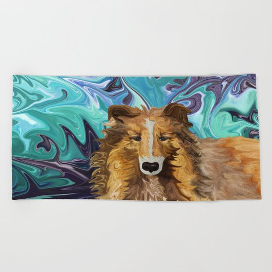 The Inquisitive Collie of the Psychedelic Dog Parade Beach Towel
