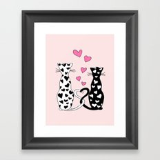 Black&white cats with hearts Framed Art Print