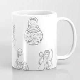 Matryoshka Doll Hand Drawn Line Art Pattern Coffee Mug