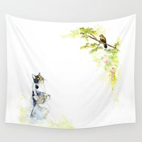 cats Wall Tapestries featuring Cats  by Aline Souza de Souza