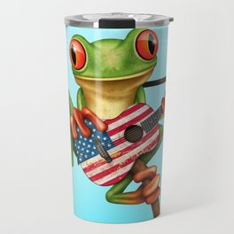 Tree Frog Playing Acoustic Guitar with Flag of The United States Travel Mug